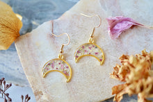 Real Pressed Flowers Earrings, Gold Moon Drops in Pink with Glass Glitter
