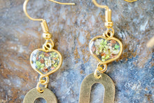 Real Pressed Flowers Earrings, Gold Rainbow Drops with Hearts