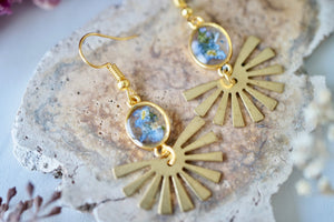 Real Pressed Flowers Earrings, Gold Sun Beam Drops with Forget Me Nots