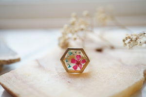 Real Pressed Flower and Resin Ring, Gold Hexagon in Teal and Pink