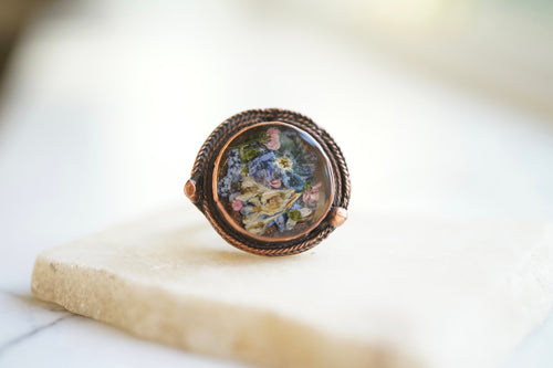 Real Pressed Flower and Resin Ring, Copper and Mixed Flowers