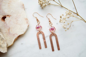 Real Pressed Flowers Earrings, Rose Gold Arch Drops with Pink Heathers