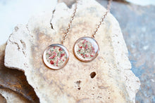 Real Pressed Flowers Earrings, Rose Gold Threaders in Mint