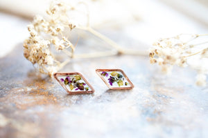 Real Pressed Flowers and Resin Stud Earrings, Rose Gold Diamonds in Purple Alyssum and Green Lapidis