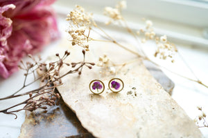 Real Pressed Flowers and Resin Stud Earrings, Brass Circles with Purple Alyssum