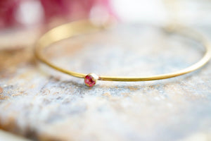 Real Pressed Flowers and Resin Adjustable Bracelet, Brass with Burgundy Flower