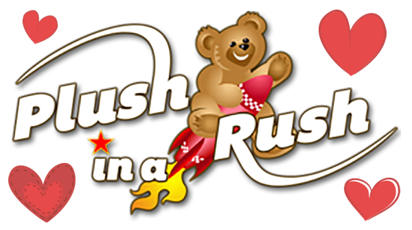 Plush in Rush Logo features a bear on a rocket ship surrounded by hearts.