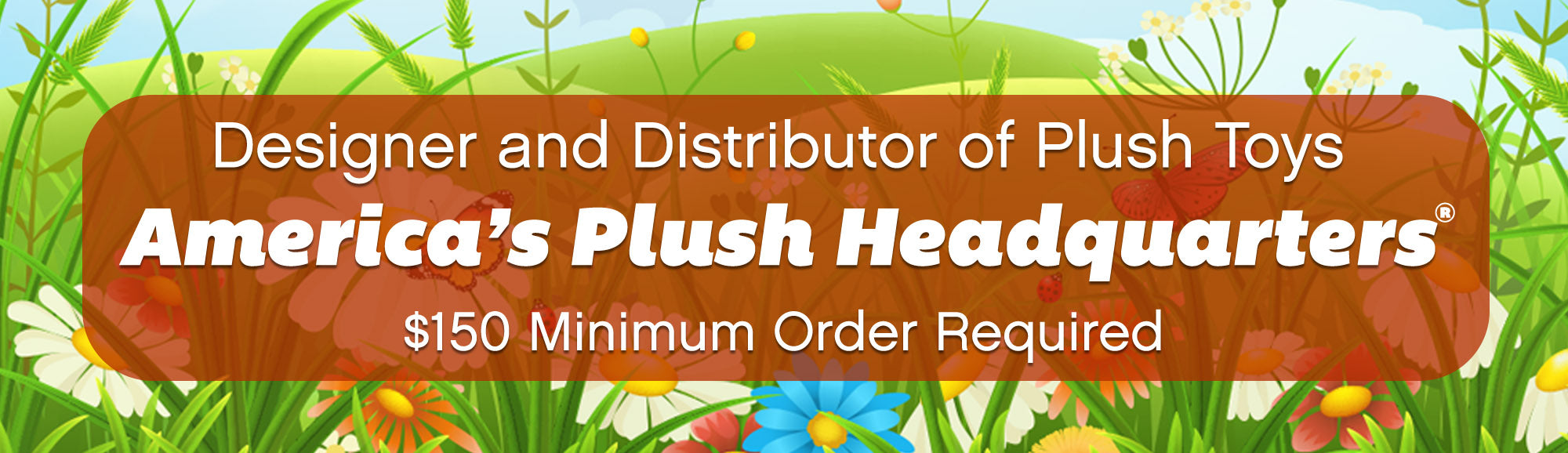 Banner that explains that Plush in a Rush is a designer and distributor of plush toys