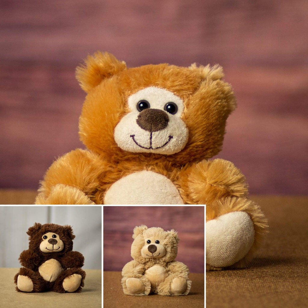 A beige, brown and dark brown bears that are 7 inches tall while sitting