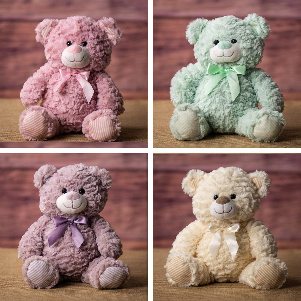 Rose, mint, lavender and cream colored bears that are 10 inches tall while sitting