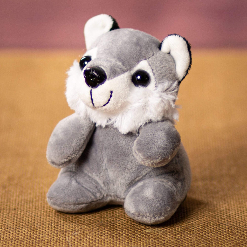 A gray wolf that is 5 inches tall while sitting