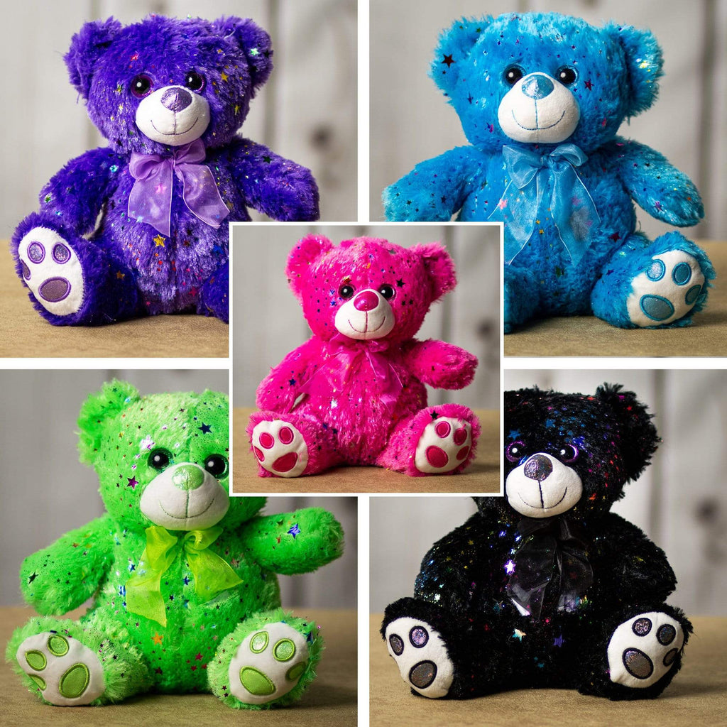 A sparkly green, black, pink, blue, and purple bear that is 10 inches tall while sitting