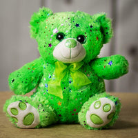 A sparkly green bear that is 10 inches tall while sitting