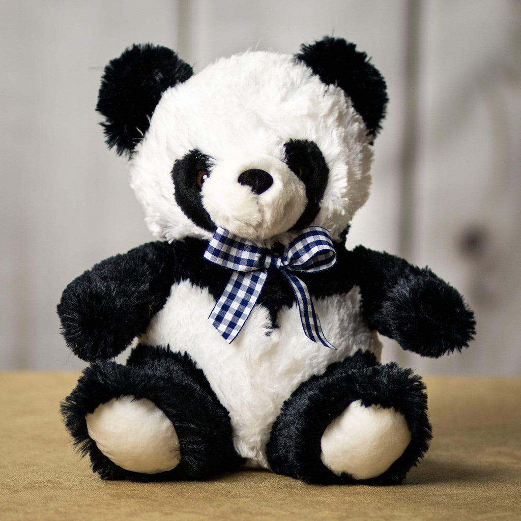 A black and white panda that is 11 inches tall while sitting