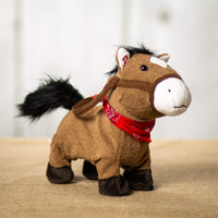 A brown musical/animated pony that is 10 inches from head to tail while standing