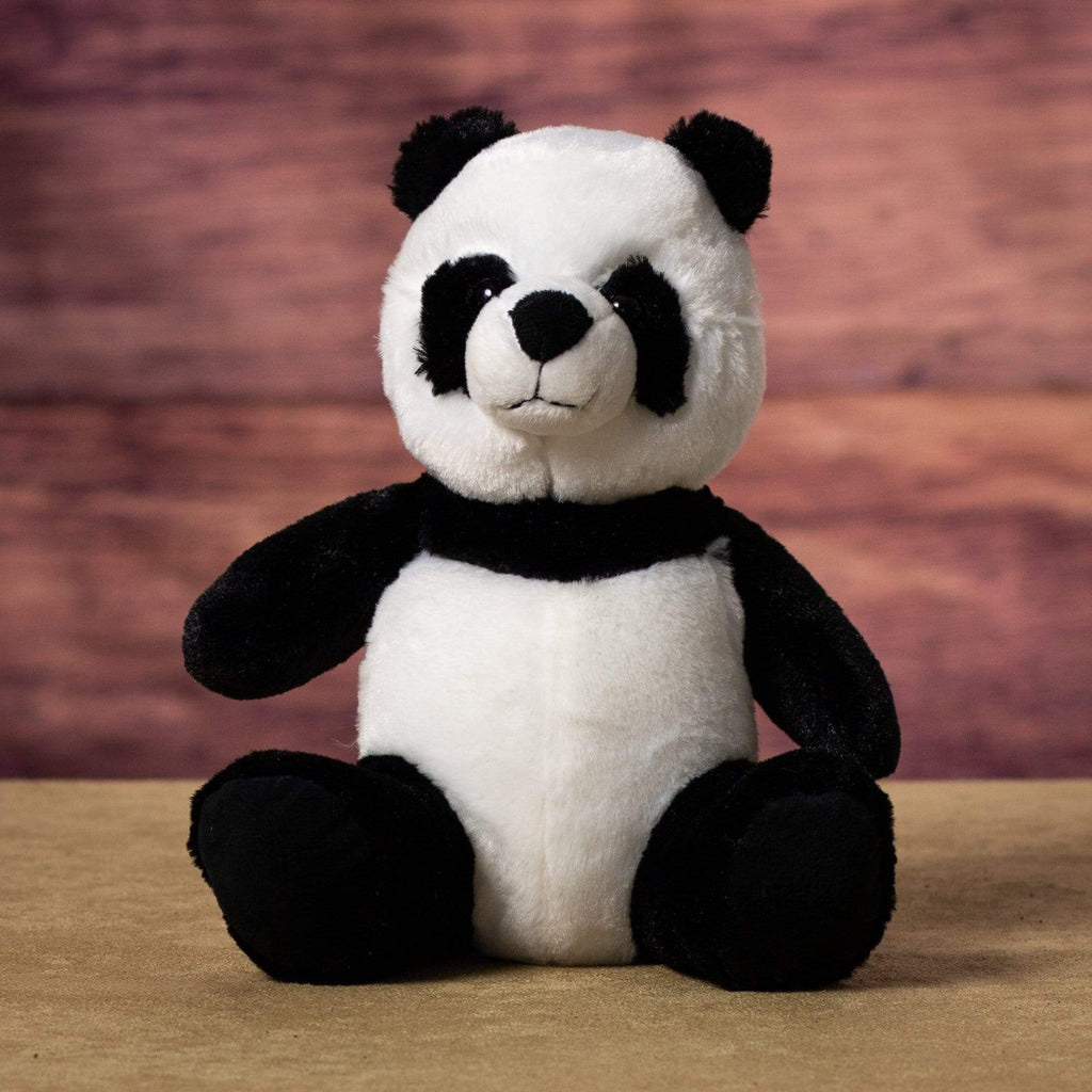 A black and white panda that is 9 inches tall while sitting