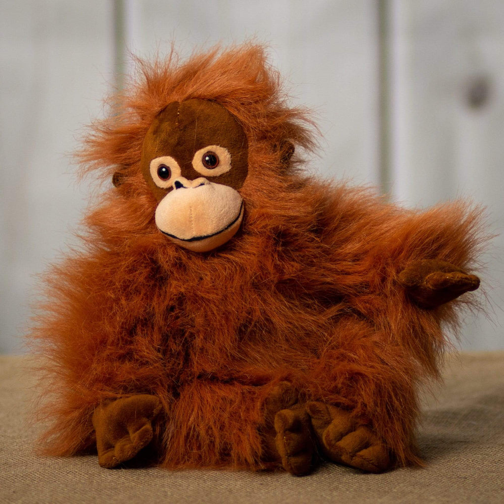 A orange orangutan that is 10 inches tall while sitting
