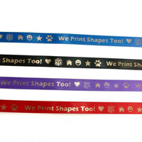 Blue, black, purple, and red ribbon with writing