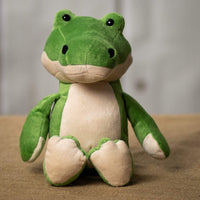 A green alligator that is 9 inches tall while sitting