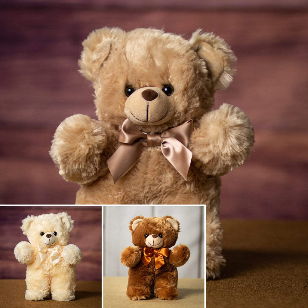 A white, brown and beige bear that are 11 inches tall while standing