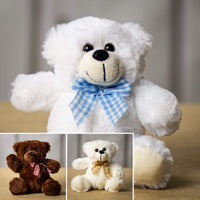 A brown, white, and cream bear that are 7 inches tall while sitting