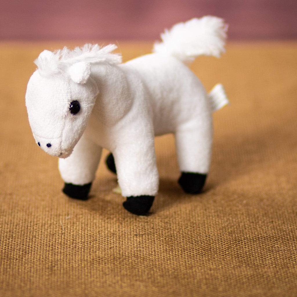 "Wholesale Stuffed Animals -  7"" White Mustang/Bronco  -  731"