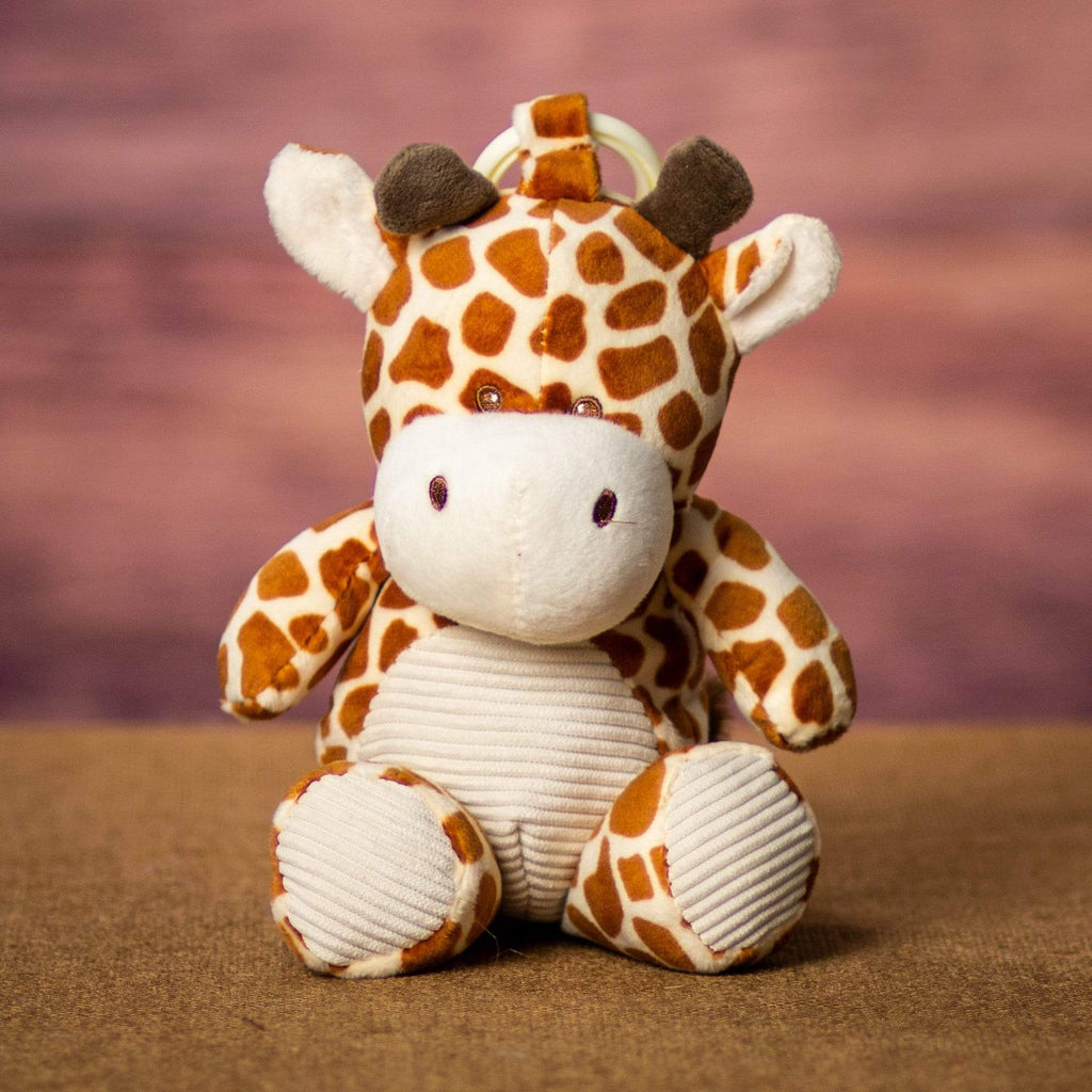 A spotted giraffe that rattles and is 10 inches tall while standing