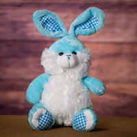 A pastel blue bunny that is 14 inches tall while sitting