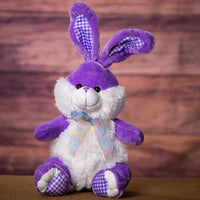 A pastel purple bunny that is 14 inches tall while sitting