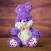 A purple bunny that is 9 inches tall while sitting