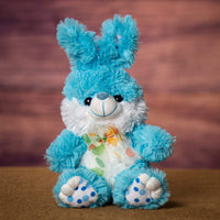 A blue bunny that is 9 inches tall while sitting