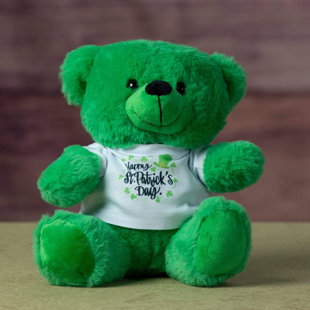 "A green bear that is 9 inches tall while sitting wearing a festive ""Happy St. Patrick's Day"" shirt"