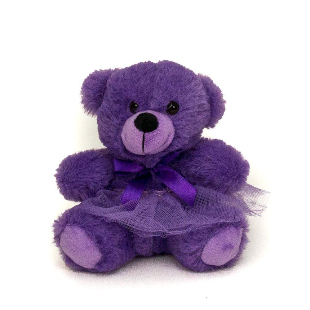 "Wholesale Stuffed Animals -  6"" Purple Bear in Removable Tutu  -  TT106L"