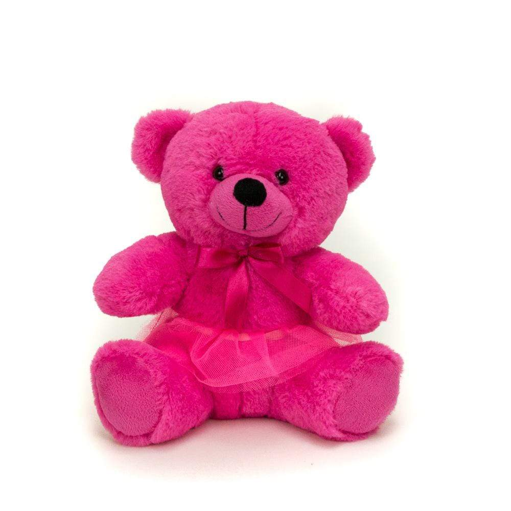 "Wholesale Stuffed Animals -  9"" Hot Pink Bear in Removable Tutu  -  TT8120P"
