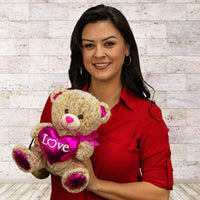 "Wholesale Stuffed Animals -  10"" Two-Tone Valentine Bear Asst  -  V124"