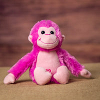 A pink monkey that is 10 inches tall while standing