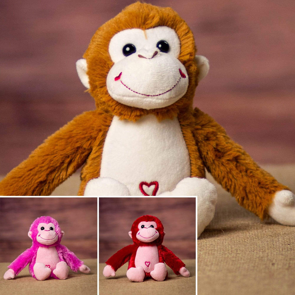 A red, pink, and brown monkey that are 10 inches tall while standing