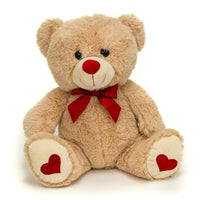 "Wholesale Stuffed Animals -  Beige 16"" Sitting Valentine Bear Asst  -  V1516BG"