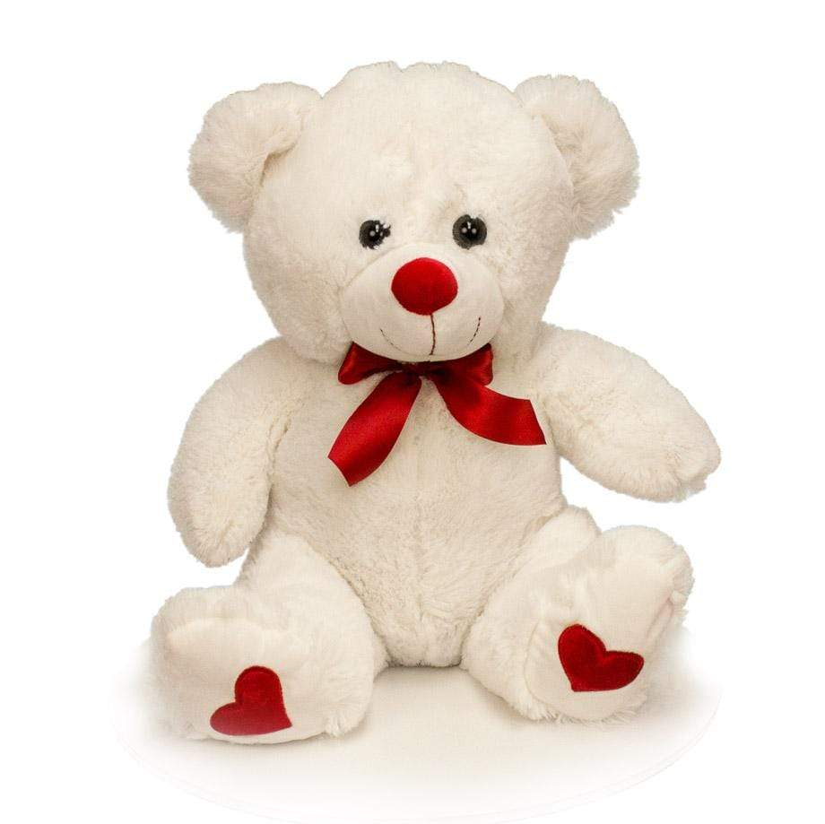"Wholesale Stuffed Animals -  White 16"" Sitting Valentine Bear Asst  -  V1516W"