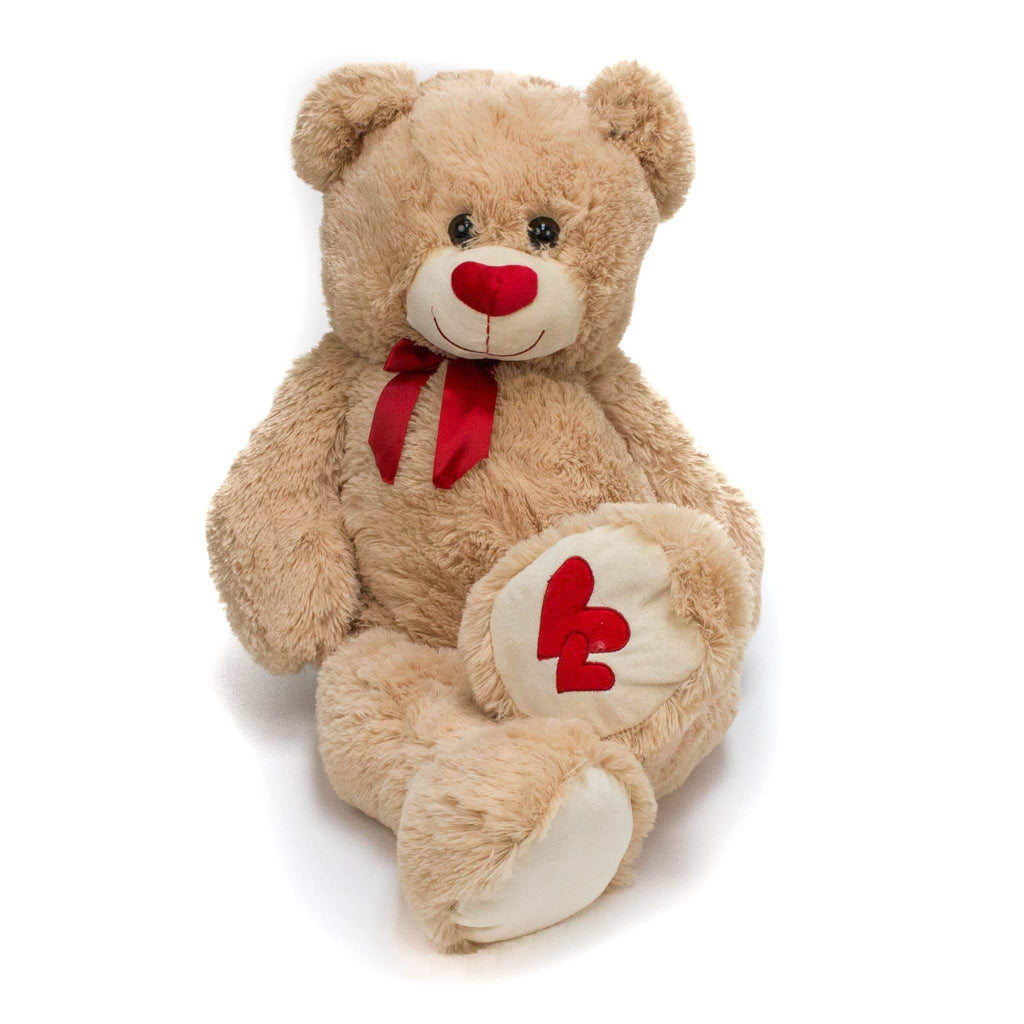 "Wholesale Stuffed Animals -  36"" Beige Valentine Hug Bear  -  V1736"