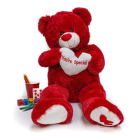"Wholesale Stuffed Animals -  36"" Red Hug Bear with Heart  -  V1736R"