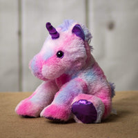 A pink unicorn that is 11 inches tall while sitting