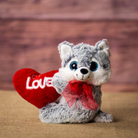 A husky that is 10 inches tall while sitting holding a red Love heart