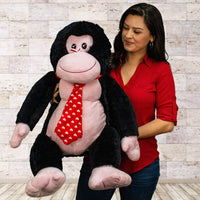 "Wholesale Stuffed Animals -  24"" Sitting Valentine Gorilla  -  V466"