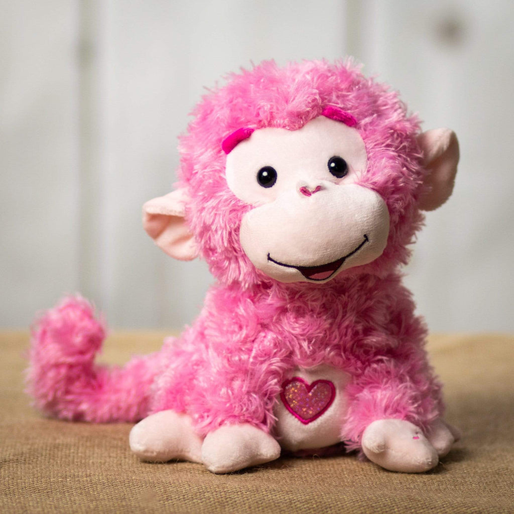 "Wholesale Stuffed Animals -  10"" Singing Pink Monkey  -  V550"