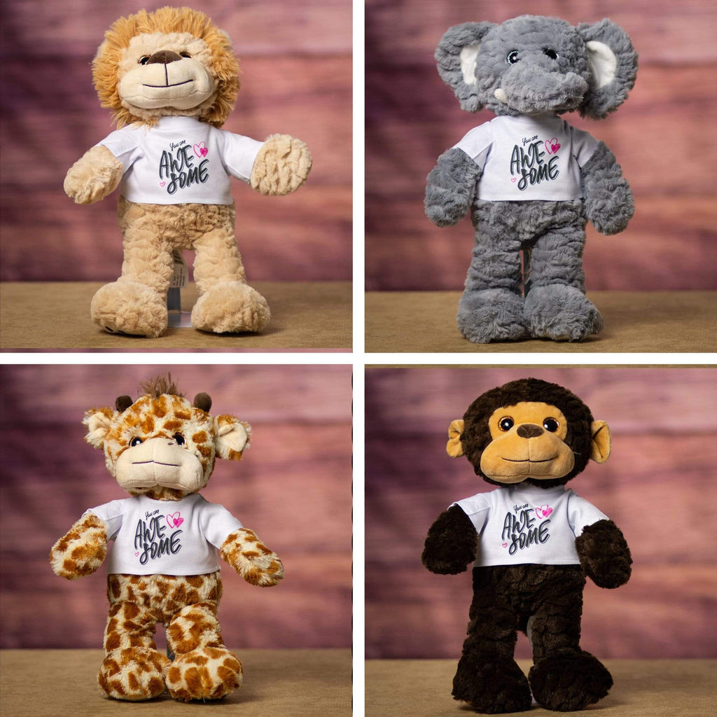 A gray elephant, a brown monkey, a beige lion, and a spotted giraffe that are 15 inches tall while standing wearing a white shirt