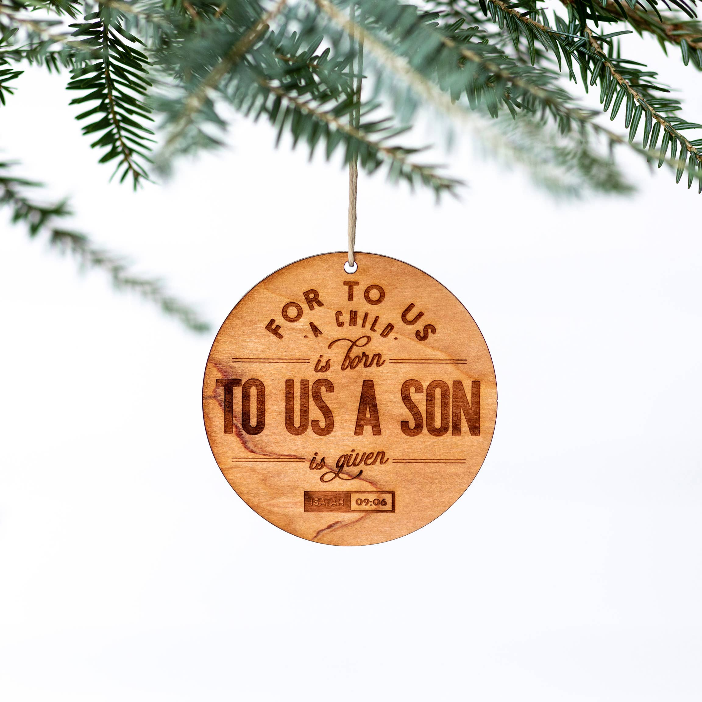 For To Us A Child Is Born Engraved Wooden Christmas Ornament