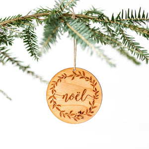 Noel Christmas Wreath Engraved Wooden Ornament