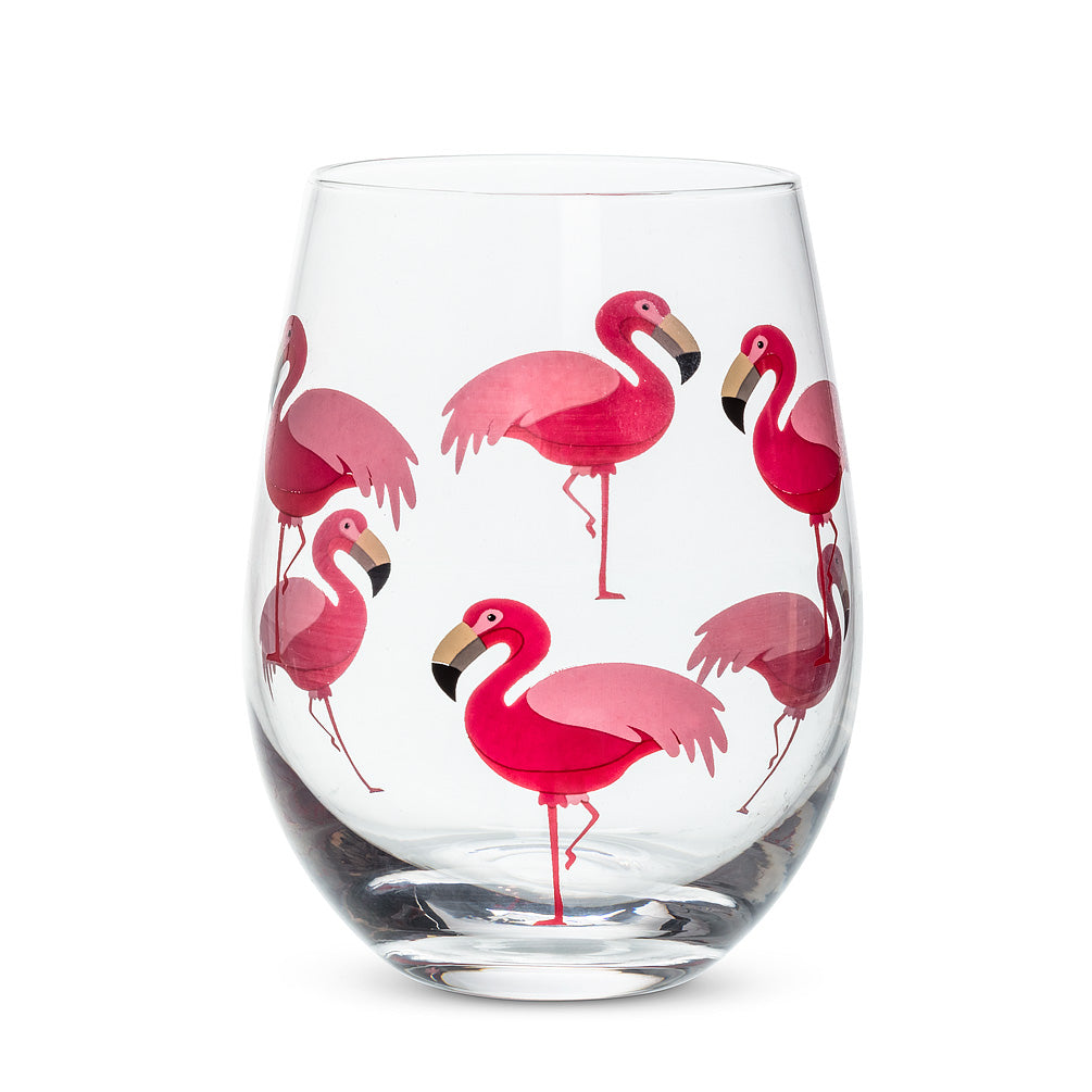 Flamingo Stemless Wineglass