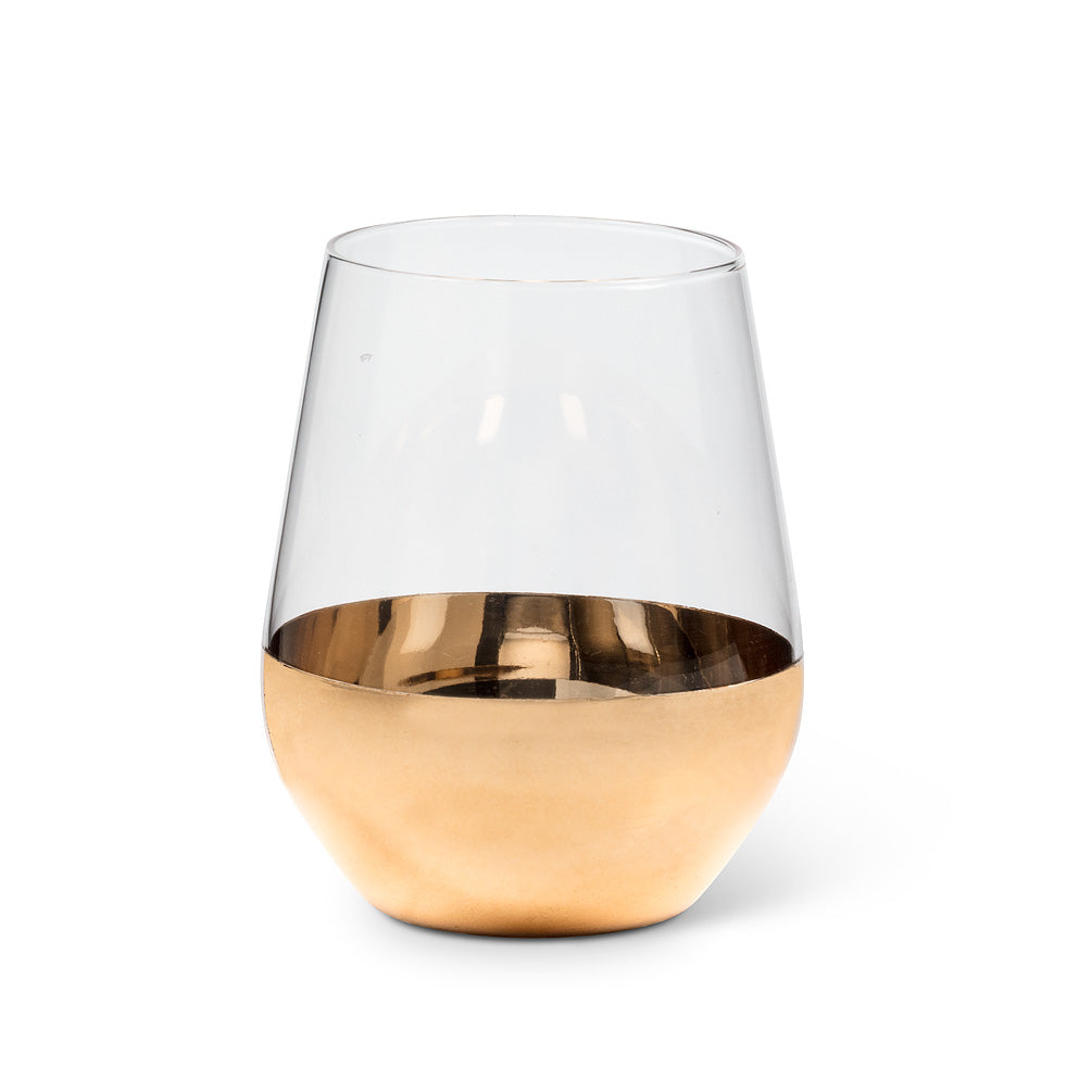 Gold dipped stemless wine glass